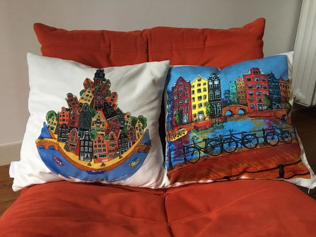 Catherine Fines, Print on high quality velvet, Amsterdam Chaos pillow-cover, 2015