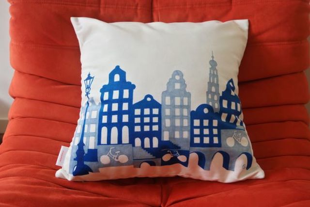 Catherine Fines, Print on high quality velvet, Amsterdam canal houses pillow-cover, 2015