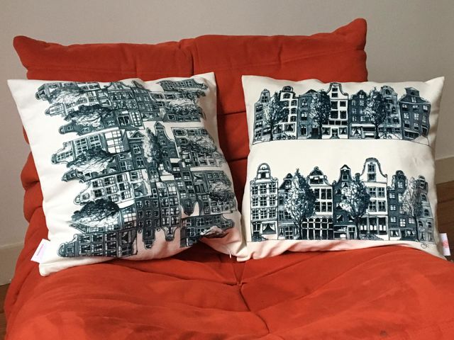 Catherine Fines, Print on high quality velvet, Amsterdam houses pillow-cover, 2015