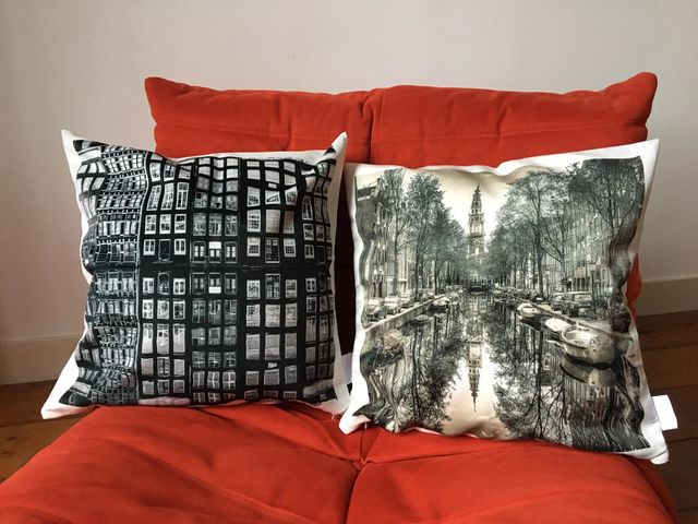 Alexandre Coric, Print on high quality velvet, Amsterdam Reflections pillow-cover, 2015