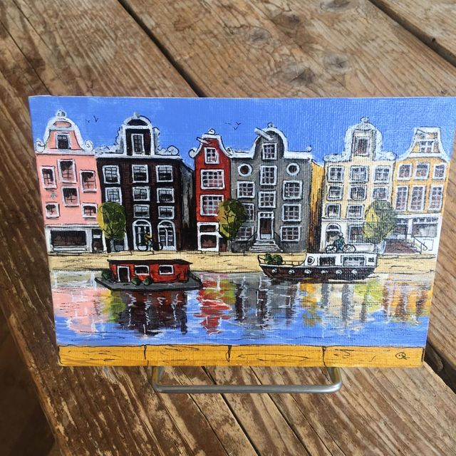 Catherine Fines, Acrylic painting on linnen on cardboard, Amsterdam mini painting nr 1, 2018