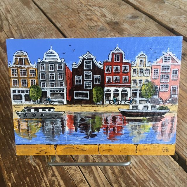Catherine Fines, Acrylic painting on linnen on cardboard, Amsterdam mini painting nr 2, 2018