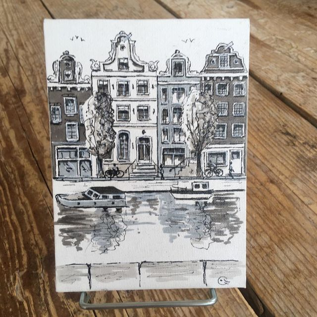 Catherine Fines, Acrylic painting on linnen on cardboard, Amsterdam mini painting nr 5, 2018