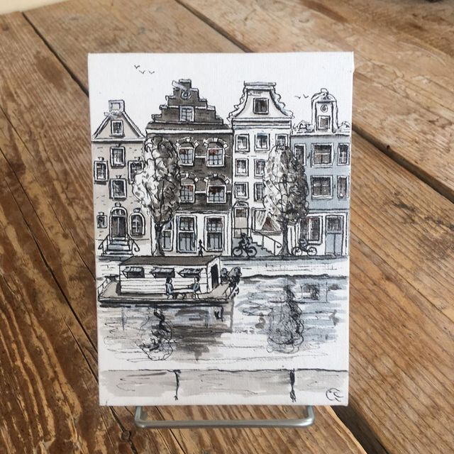 Catherine Fines, Acrylic painting on linnen on cardboard, Amsterdam mini painting nr 7, 2018