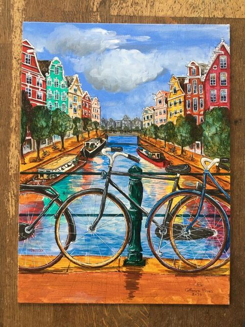 Catherine Fines, Acrylic painting on linnen on cardboard, Amsterdam acrylic painting nr. 9, 2018