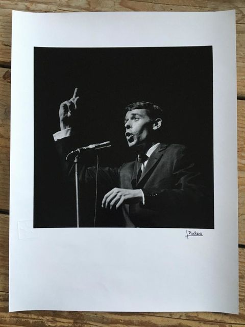 Jean-Pierre Leloir, Original dark-room silver gelatine print, signed, embossed, Jacques Brel, Paris 1961, 1961