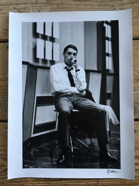 Jean-Pierre Leloir, Original dark-room silver gelatine print, signed, embossed, Jacques Brel, Paris 1964, 1964